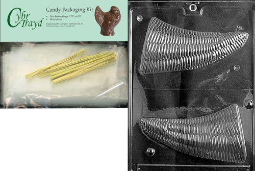 Cybrtrayd MdK50T-T018 Hollow Cornucopia Solid Thanksgiving Chocolate Mold with Chocolate Packaging Kit, Includes 50 Cello Bags, 50 Gold Twist Ties and Chocolate Molding Instructions