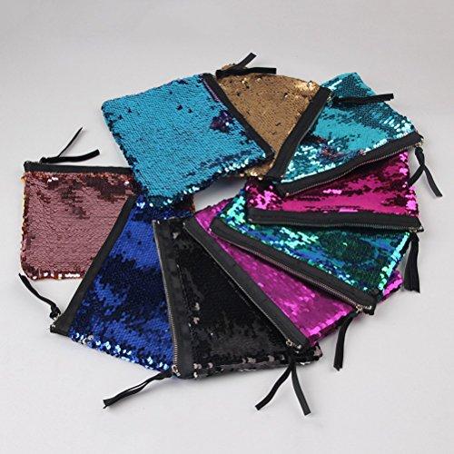 Tinksky Clutch Tasche Damen Pailletten Tasche Abendtasche mit Reißverschluß für Party Hochzeit (Lila)
