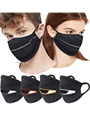 MOVERV Zipper Mouth Covering with Comfortable Ear Loops, Unisex Adult Protection Easy to Drink Outdoor Protective Black Coverings, Reusable Washable Uv Sunscreen Summer Cool Mouth Opening Guard