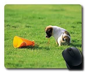 Cute Puppy Having Fun On Grass Gaming Mouse Pad - 220*180*3MM Dimension - Non-slip Rubber base - Cloth Top Mousepad/ Mouse Pad by ruishername