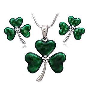 cocojewelry Heart Shape Leaf Clover Irish Shamrock Earrings Necklace Set