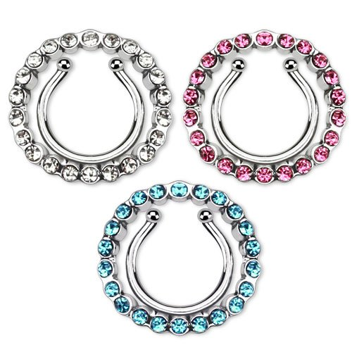 71805f8af96 LoveFifi Women s Portrait Open Tip Bra. Nipple Rings non pierce pair Clip  On Nipple Ring with Multi Paved Gem Cicle