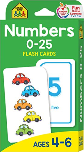 : School Zone - Numbers 0-25 Flash Cards - Ages 4-6, Preschool and Up, Math Equations, Problem Solving, and More