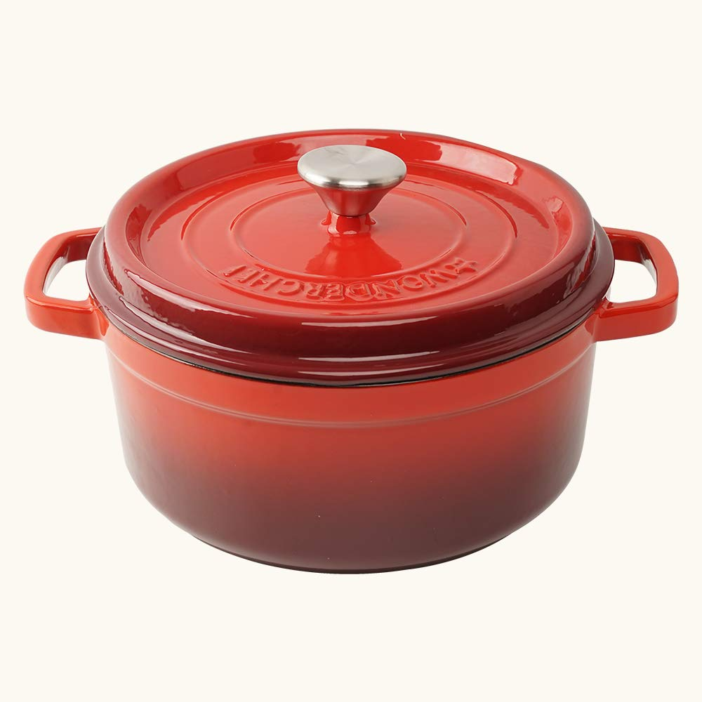 Wonderchef Ferro Cast Iron Casserole with Lid, 3.4 Liters/24 cm, Red