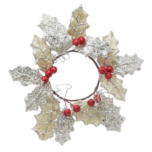 RAZ Imports - 10 Inch Holly Candle Ring - For 3 Inch Pillar Candle ()