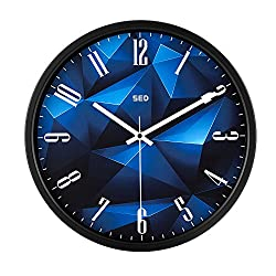 Vitaa Modern Wall Clock, 12 Inch Silent Non Ticking Quality Quartz Battery Operated Easy to Read Home/Office/School Clock, with Stainless Steel Frame (Blue Crystal)