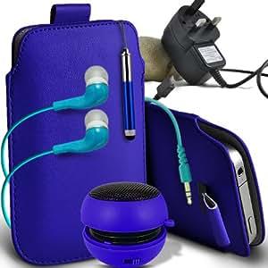 Fone-Case HTC Desire Slip X PU protectora Tirar la cuerda de cuero En la bolsa del lanzamiento rápido con Mini capacitiva lápiz óptico retráctil, 3.5mm en auriculares del oído, Mini recargable altavoz de la cápsula, Micro USB CE aprobado 3 Pin Cargador y Protector de pantalla de la Guardia (azul )