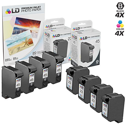 LD Remanufactured Ink Cartridge Replacements for HP 45 & HP 23 (4 Black, 4 Tri-Color, 8-Pack) ()