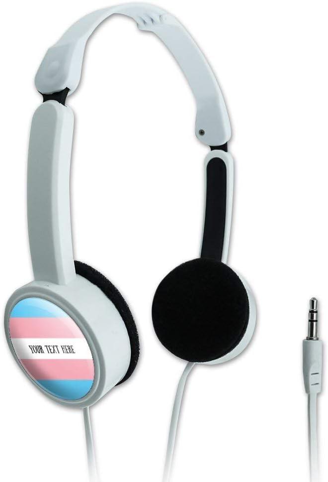 GRAPHICS & MORE Personalized Custom 1 Line Transgender Pride Flag Novelty Travel Portable On-Ear Foldable Headphones