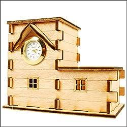 Desktop Wooden Model Kit Clock Pensil Case (L-Type)