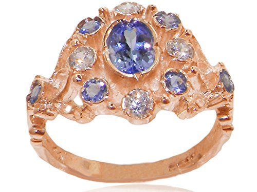 Tanzanite Diamond Cluster Ring (14k Rose Gold Natural Tanzanite and Diamond Womens Cluster Ring (0.15 cttw, H-I Color, I2-I3 Clarity))