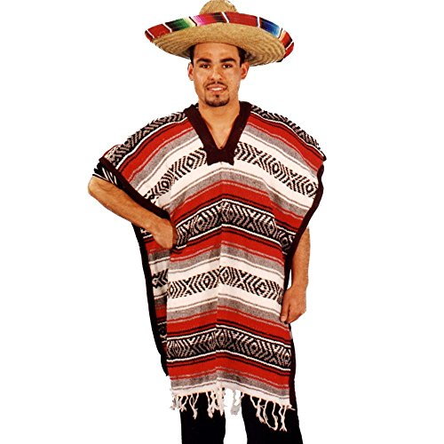 Alexanders Costumes Mexican Poncho, Red, One Size (Mexican Fancy Dress Costume)