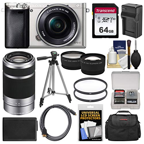 Sony Alpha A6000 Wi-Fi Digital Camera & 16-50mm Lens (Silver) with 55-210mm Lens + 64GB Card + Case + Battery/Charger + Tripod + Tele/Wide Lens Kit