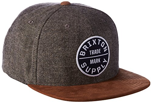 Flat Bill Hat - Brixton Men's Oath III Medium Profile Adjustable Snapback Hat, Grey/Copper, One Size