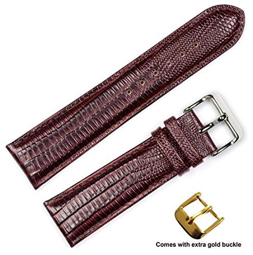 Lizard Strap Grain Watch (deBeer brand Teju Lizard Grain Watch Band (Silver & Gold Buckle) - Brown 20mm)