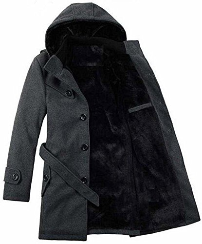 Lacencn Trendy Mens Winter Overcoat Faux Fur Lined Hooded Long Trench Coat Dark GrayUS-XL