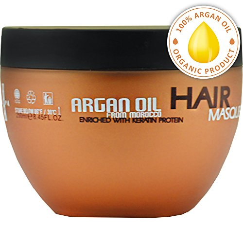 Argan Oil Hair Mask - Deep Conditioner Sulfate Free for Dry or Damaged Hair with Organic Jojoba Kernel Oil Aloe Vera Collagen and Keratin - Red Organic Conditioner