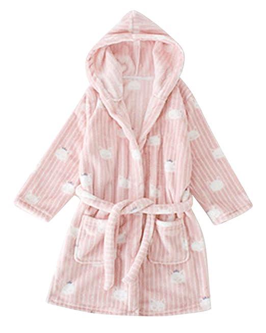 ShiFan Albornoz Suave para Niñas Y Niños Ropa De Dormir con Capucha De Baño Lujosa Bata Calentar Ropa De Dormir Cómoda Lindo Loungewear TW Pink 120: ...