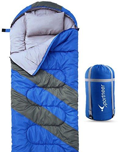 Sleeping Bag For 4 Season, Sportneer Portable Waterproof Lightweight Sleeping Bag with Compression Sack For Camping, Hiking, Travelling