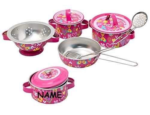 10 tlg. Topfset inc. Name - aus Metall / Blech + Küchenhelfer - Geschirr - Spiel Set Kochgeschirr - Küche Zubehör Koffer - Töpfe Kochtopf für Kinder - Kindergeschirr - Puppengeschirr - Kindertöpfe Kochtöpfe - rosa für Mädchen - Kochtopfset