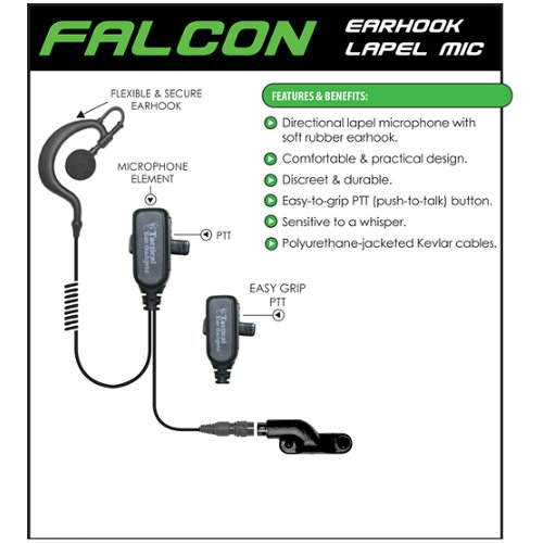 FALCON Quick Release Headset for Vertex Standard VX 2-Way Radios (See List) by Tactical Ear Gadgets