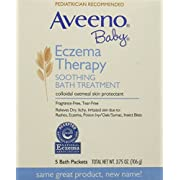 Aveeno Baby Eczema Therapy Soothing Baby Bath Treatment, Fragrance Free, 5-Count Packets (Pack of 6)