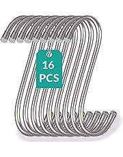 16 S-haken van roestvrij staal, belastbaar tot 25 kg, 12 cm groot, roestvrijstalen S-haak om op te hangen