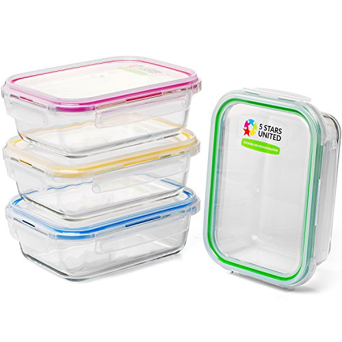 Glass Meal Prep Storage Containers - 4 x 35 Oz Reusable Food Lunch Boxes with Airtight Lids,  Freezer, Microwave, Dishwasher Safe. Must Have 4-Pack Set