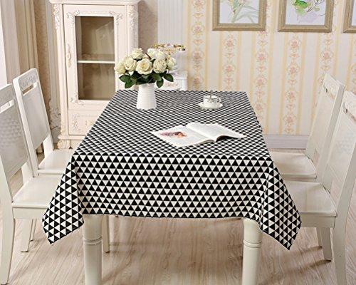 Triangles Tablecloth Pool (YJBear Cotton Linen Fresh Black Triangle Print Table Cloth for Dinner Washable Table Cover for Home Decoration Rectangle Tablecloth Desk Cover 43.3