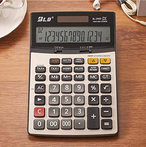 14-Digit Electronic Financial Calculator, Large LCD Display Scientific Desk Calculators for Office Home - Lcd Battery Digit Display 14