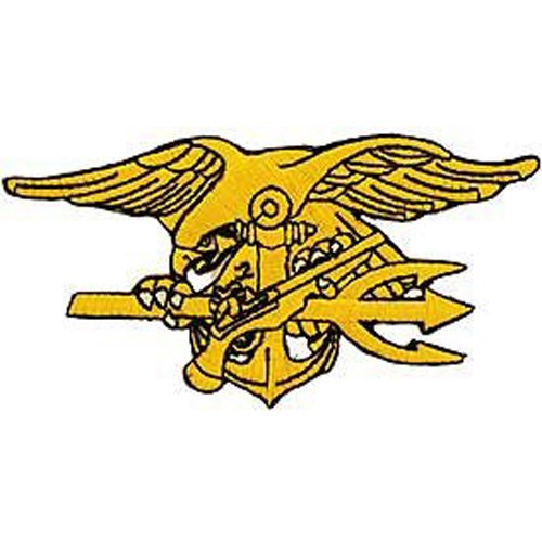 US Navy Armed Forces Military Iron On Patch - Seal Teams - Seal Trident Logo Applique ()