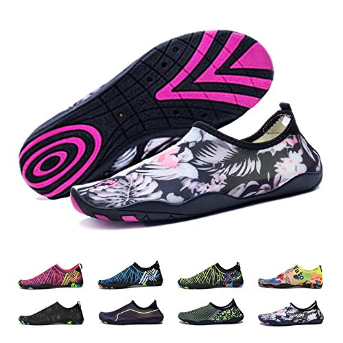 BlanKey Water Sports Shoes Quick-Dry Barefoot Flexible Flats Beach Swim Shoes Men Women Kids Flower