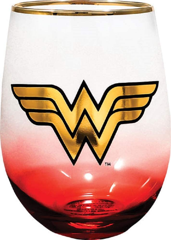 Spoontiques Wonder Woman Stemless Glass, 20 ounces, Red