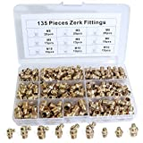 Boeray Straight and 90 Degree and 45 Degree Brass Zerk Grease Nipple Fitting Assortment Kits M6 M8 M10 135pcs