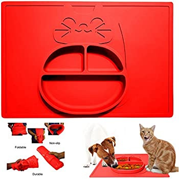 Cat-Design Cat Food Bowl and Mat in One - Non-Slip Silicone Pet Dish