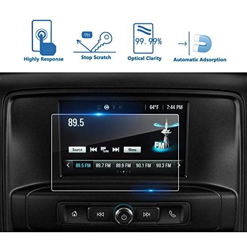 LFOTPP 2015-2018 Chevrolet SILVERADO 1500 7 Inch MyLink Car Navigation Screen Protector, [9H] Tempered Glass Center Touch Screen Protector Anti Scratch High Clarity