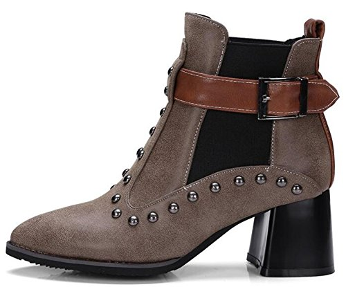 IDIFU Women's Punk Studded Buckle Pointed Toe Short Motor Ankle Boots With Heels