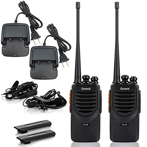 Greaval GV-9S Rechargeable Walkie Talkies for Adults Long Range with Li-ion Battery Earpiece USB Charing Desktop Charger Two-Way Radios UHF 16CH VOX 2Pack