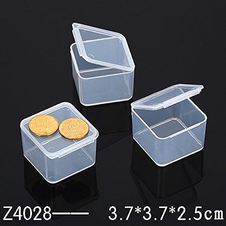TOPmountain Pequeña Cuadrado Transparente de plástico Transparente Cosmética de Joyas Caja de almacenaje Caja de artesanía White Beads: Amazon.es: Hogar