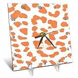 3dRose Tangerine Animal Print Pattern - Desk Clock, 6 by 6-Inch (dc_44183_1)