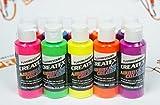Createx Airbrush Colors Fluorescent Paint Set 10