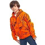 TrailCrest Kid's Safety Blaze Orange/Camo Double Fleece Full Zip Hoodie, Orange Camo, XL