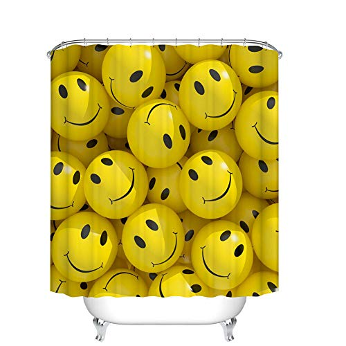 (Art Decor Emoticons Cartoons Smiley Faces,Waterproof Polyester Fabric Shower Curtain,3D High-Definition Printing Does Not Fade,12 Shower Hooks,70.8X70.8 Inch,Home Decor,Bathroom Accessories)