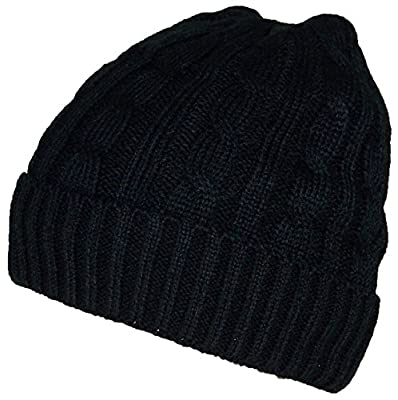 Angela & William Womens Cable Knit Cuffed Hat W/Soft Lining (One Size) - Black