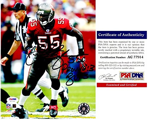 (Derrick Brooks Signed - Autographed Tampa Bay Buccaneers - Tampa Bay Bucs 8x10 inch Photo - PSA/DNA Certificate of Authenticity (COA))