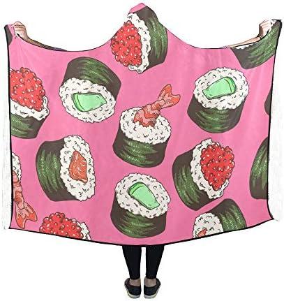 Rtosd Couverture à Capuche Sushi Couverture dessinée à la Main 60x50 Pouces Wrap à Capuche Comfotable
