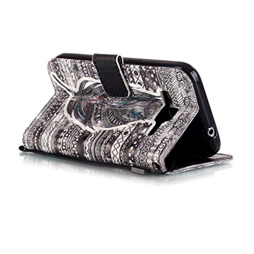 Funda Samsung Galaxy Core Prime G360, Ciervo de aves Funda Libro de Cuero Flip Cover con TPU Case Interna Para Samsung Galaxy Core Prime G360, Wallet Case con Soporte Plegable, Ranuras para Tarjetas y Plumas tribales