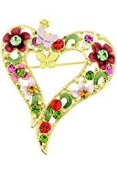 Multicolor Butterfly And Flower Heart Pin Swarovski Crystal Pin Brooch And Pendant(Chain Not Included)