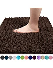 Yimobra Luxury Chenille Bath Mat, Soft Shaggy and Comfortable, Large Size, Super Absorbent and Thick, Non-Slip, Machine Washable, Perfect for Bathroom (80 x 50 cm, Brown)
