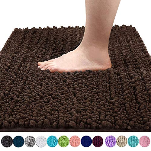 Yimobra Original Luxury Shaggy Bath Mat, Soft and Cozy, Super Absorbent Water, Non-Slip, Machine-Washable, Thick Modern for Bathroom Bedroom (24 x 17 Inch, Brown)